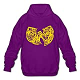 Qi'c Men's Wu Tang Clan Cool Classic Yellow LOGO Sweatshirt Hoodies Purple Size XL