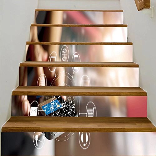 vanfan 3D Creative man using mobile payments online shopping and icon customer network connection on scre DIY Refurbished Stairs Stickers Removable Waterproof Stairs Mural(39.3