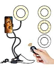 ANNA TOSANI Lámparas de Escritorio Selfie Anillo de Luz con Remote Control, LED Libro de Lectura con Soporte y Clip para Teléfono Celular, Soporte para Celular con Aro de Luz, 3 Modos Brillo 10 Niveles 360° Rotación, Luz Selfie Regulación del Brillo de 10 niveles para Youtube Transmisión en Vivo Maquillaje Fotografía Vlog
