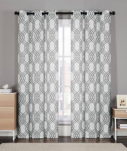 2 Pack: GoodGram Grey Shabby Geometric Grommet Top/Foam Back Curtain Panels (Grey) - Foam Back Window Panel