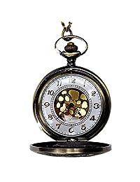 LF stores Relojes de Bolsillo Reloj de Bolsillo esculpido clásico con patrón de números Romanos Reloj de Bolsillo de Cuarzo Vintage con Cadena for Hombres y Mujeres Reloj con Cadena
