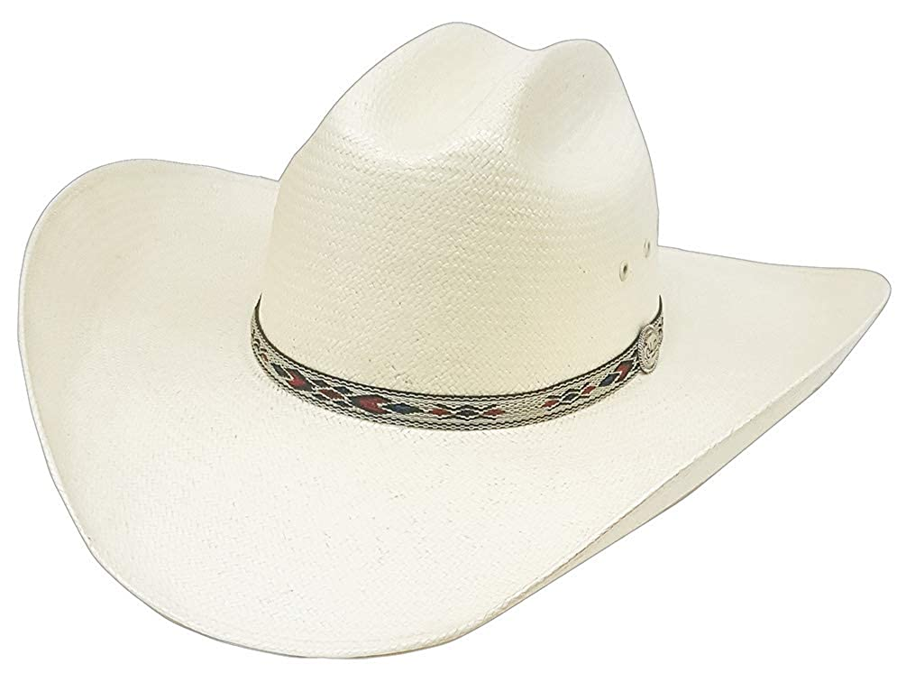Modestone Unisex Native Woven Hatband Bangora Straw Cowboy Hat Off-White 60
