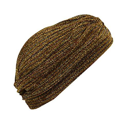 Gold Striped Tinsel Turban Twist Pleated Hair Wrap Stretch Turban Womens Head Cover (Tinsel Twist)