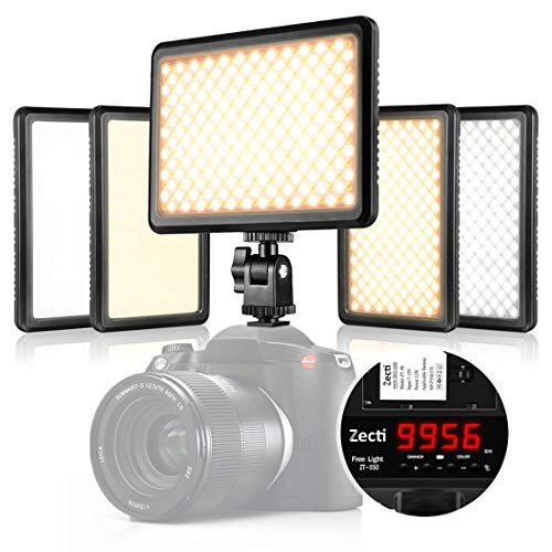 Led Video Light, Zecti 216 LED Low Beam and High Beam Dimmable Led Camera Light with Adjustable Color Temperature 3200-5600K for Canon, Nikon, Pentax, Panasonic, Sony, Samsung and Other Digital SLR (Beam Mini Canon Video)