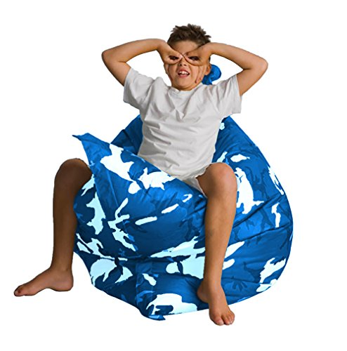 "Alta Jumbo Bean Bag Chair. Big Sofa Cover Made Stain and Water Resistant for Indoor and Outdoor Use. 63"" x 51"" Blue Camo (Outdoor Waterproof Bean Bags Furniture)"
