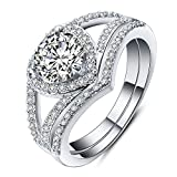 BSGSH Womens Wedding Engagement Rings Set Bling Heart Bridal White Cz Cubic Zirconia Band Size 6-10 (Silver, 8)