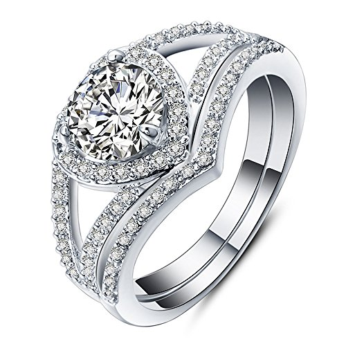 - Mnyycxen 2-in-1 Heart Cubic Zirconia Diamond Rings for Women Wedding Promise Engagement Band Plated18K White Gold