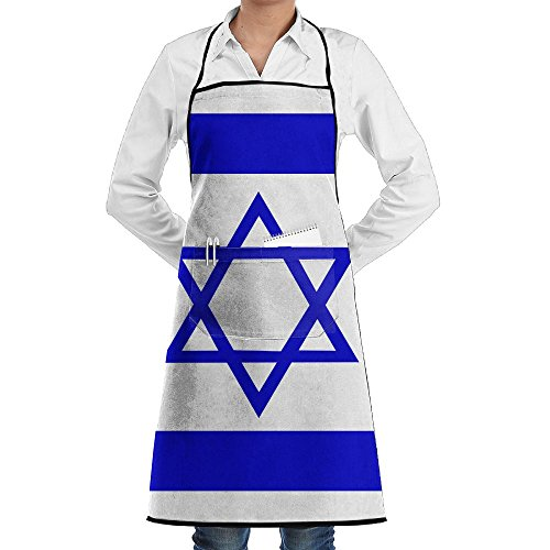 Israeli Flag Apron Lace Unisex Mens Womens Chef Adjustable Polyester Long Full Black Cooking Kitchen Aprons Bib With Pockets For Restaurant Baking Crafting Gardening BBQ Grill