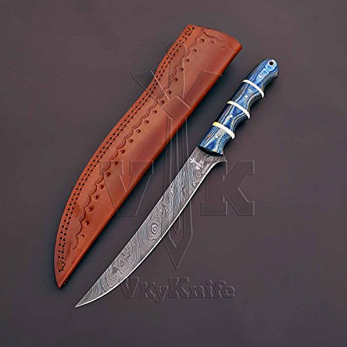 JNR TRADERS Handmade Damascus Steel Chef Kitchen Fillet Boning Knife Professional Leather sheath 13 Inches VK5530 by JNR TRADERS