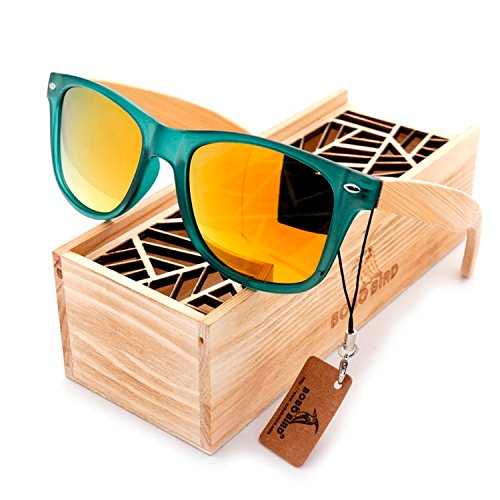 JapanX Bamboo Sunglasses & Wood Wooden Sunglasses for Men Women, Polarized Lenses Gift Box – Wooden Vintage Wayfarer Sunglasses - Bamboo Wood Wooden Frame – New Style Sunglasses (A3 - Sunglasses Bamboo Demolition Ranch