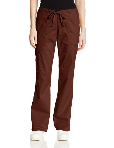 Heeled Brown Chocolate - Cherokee Women's Workwear Core Stretch Drawstring Cargo Scrubs Pant, Chocolate, Small