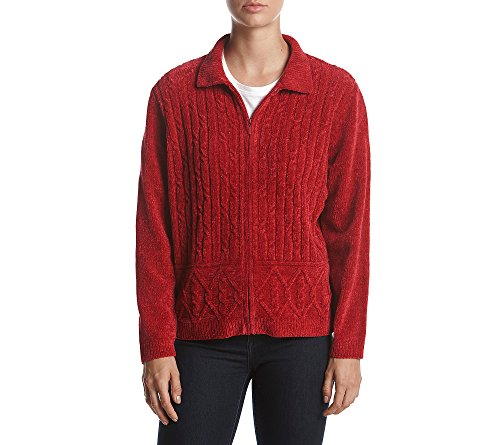 Alfred Dunner Sweater (Alfred Dunner Zip Front Sweater Red Small)