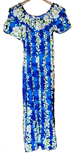 Polynesian Cultural Center Hawaiian Muumuu Dress For Women Full Length Double Ruffle (Extra Large, Ginger Blue) - Shipped From Hawaii