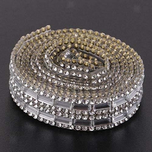 (Silver Mesh Wrap Cake Rhinestone Ribbon Wedding Favor Decor Party Supplies |Color - 6 Rows 15mm|)