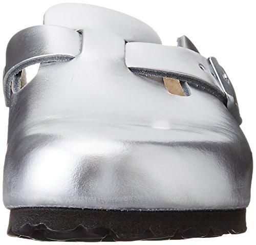 Birkenstock Boston SFB Glattleder Clogs Weichbettung schmal metallic silver - 37