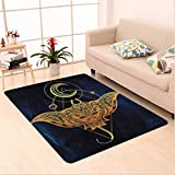 Nalahome Custom carpet delic Mystic Alchemy Symbol Hidden Sign of Universe Holy Science Artful Image Petrol Blue Yellow area rugs for Living Dining Room Bedroom Hallway Office Carpet (5' X 8')