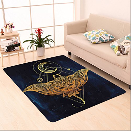 Nalahome Custom carpet delic Mystic Alchemy Symbol Hidden Sign of Universe Holy Science Artful Image Petrol Blue Yellow area rugs for Living Dining Room Bedroom Hallway Office Carpet (5' X 8') by Nalahome