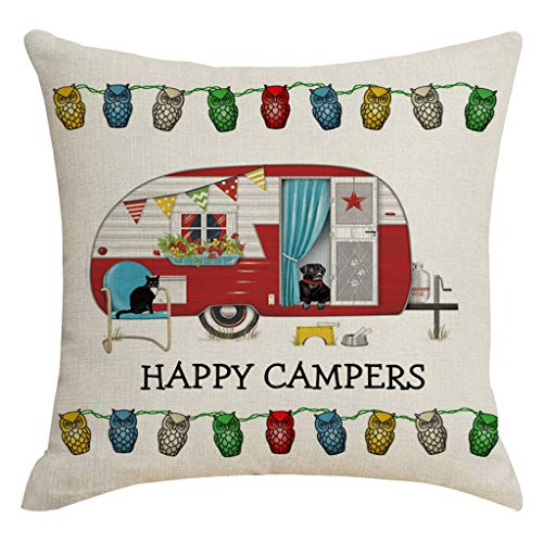 - CCFAMILY Happy Camper Picnic Car Text Decoration Linen Pillowcase Household Items Satin Pillowcase for Hair and Skin