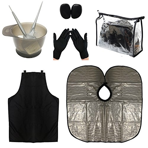 HYOUJIN PRO- H Hair Dye Coloring DIY Beauty Salon Tool Kit- Hair Tinting Bowl,Dye Brush,Ear Cover,Hair Salon Working Apron,Hair Coloring Cape For Hair Coloring Bleaching Hair Dryers Hair Dye Tools