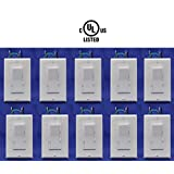 Led Dimmer Switch 10 pack: With 10 White Plates, 3 Way Dimmer Switches, 120V, Maximum 150w Dimmable Led Lights