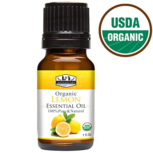 1 fl. Oz Organic Lemon Essential Oil, USDA Certified Organic, 100% Pure, Natural, undiluted Therapeutic Grade, Refreshing Scent, Excellent for Aromatherapy ()