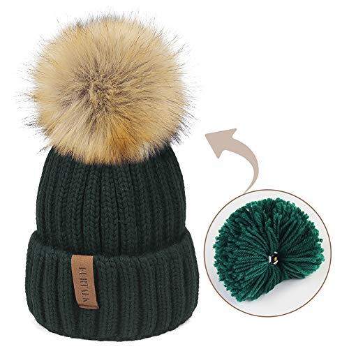 732b0840 FURTALK Womens Knitted Winter Pom Beanie Hat Faux Fur Pom Pom Bobble Hat  Beanie for Girls