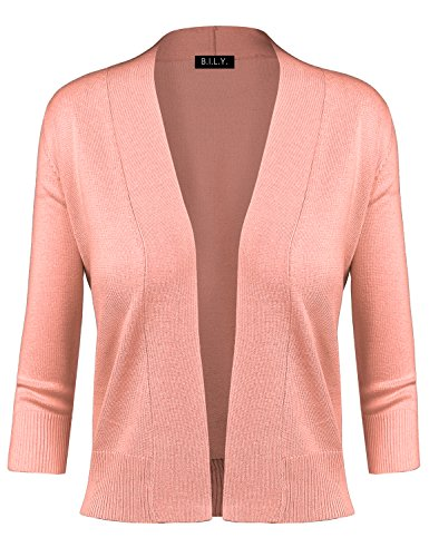 (BH B.I.L.Y USA Women's Classic Open Front Cropped Cardigan Peach Small)