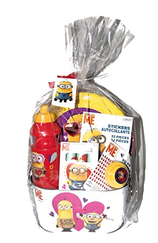Despicable Me Minions Easter Basket withYo-Yo, Sidewalk chalk, Stickers, Water Bottle and flying disks in a Metal Bucket