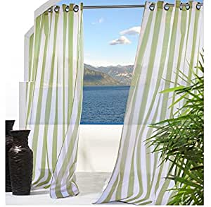 2 Piece 108 Inch Green Gazebo Curtains Set Pair Striped Pattern Rugby Colors