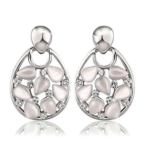 [Gnzoe Jewelry, 18K Silver Plated Drop Earrings Water Drop Opals Crystal Eco Friendly] (Costumes Brisbane Australia)