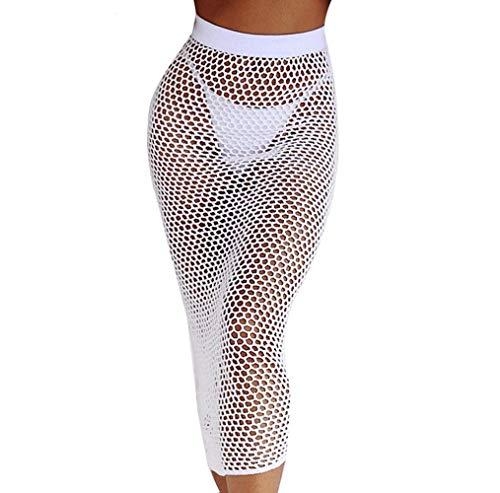 WM & MW Fashion Women Sexy Bodycon Hollow Out Knitting Fishnet Skirt Bikin Beach Cover up Midi Skirt (L, White)