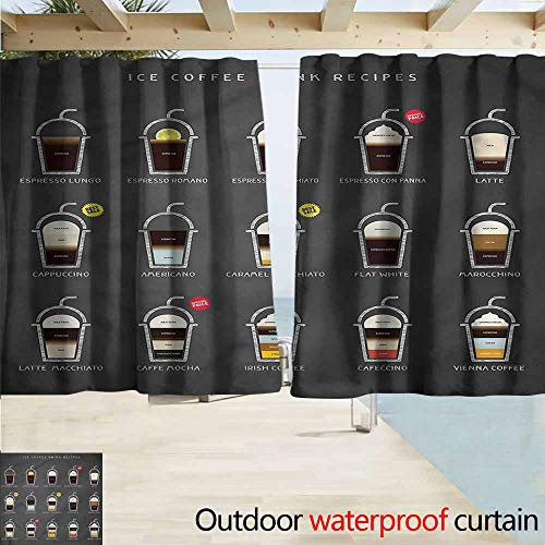 MaryMunger Exterior/Outside Curtains Coffee ICY Drink Recipe Ingredients Rod Pocket Energy Efficient Thermal Insulated W72x63L Inches