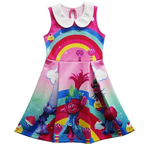 ZHBNN Trolls Little Girls Printed Princess Dress Cartoon Party Dress (Pink-2,110/3-4Y)