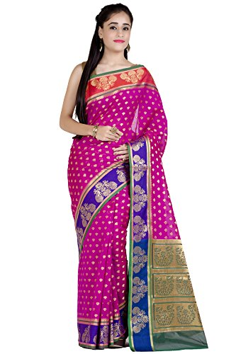 Chandrakala Women's Pink Cotton Silk Blend Banarasi Saree,Free -