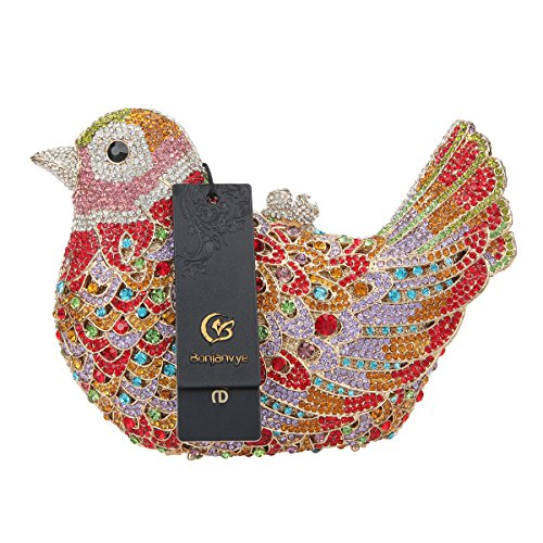 Blue Glitter Purses Evening Bag Girls Colorful Clutch For Rhinestone Purple Bird Bonjanvye z7qddA