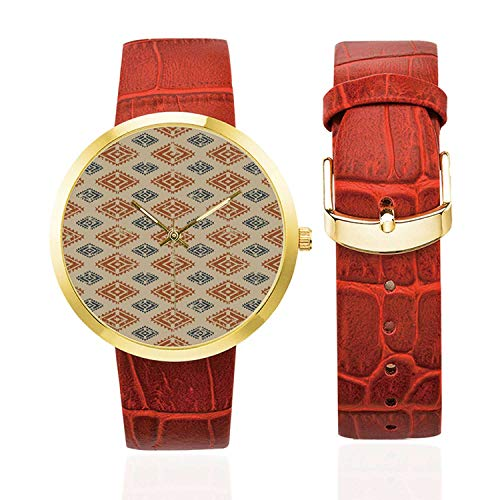 Zambia Fashion Women's Golden Leather Strap Watch,Ethnic Tribal Folk Design with Retro Style Aztec Effects in Pastel Print Decorative for Womans,Case Diameter: 40mm from C COABALLA