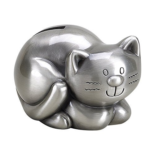Creative Gifts Pewter Plated Finish Kitty Cat Coin Saving...