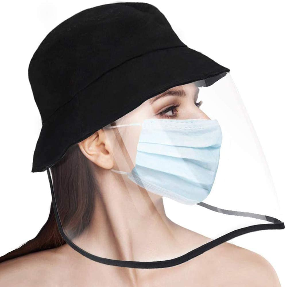 Protective Face Mask Cap Dust Mask Hat Reusable Facial Mask Anti Pollution Mask Anti-Spitting Full Face Mask Non-Removable Dustproof Cover Eye Mouth Protection Mask Men Women Sun Hat Bucket Hat