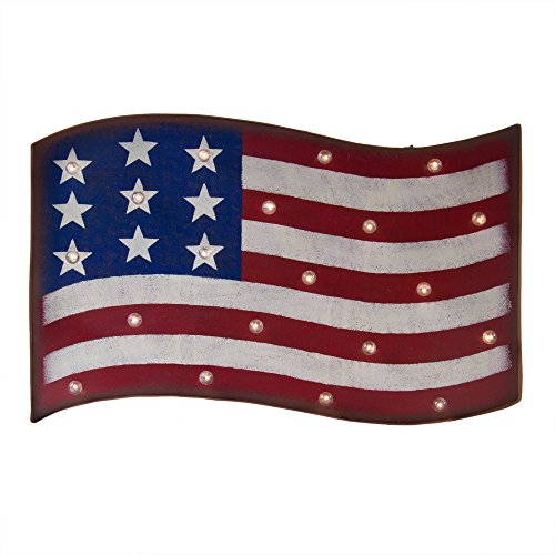 Glitzhome Patriotic LED Marquee National Flag Sign Wall Decor Battery Operated