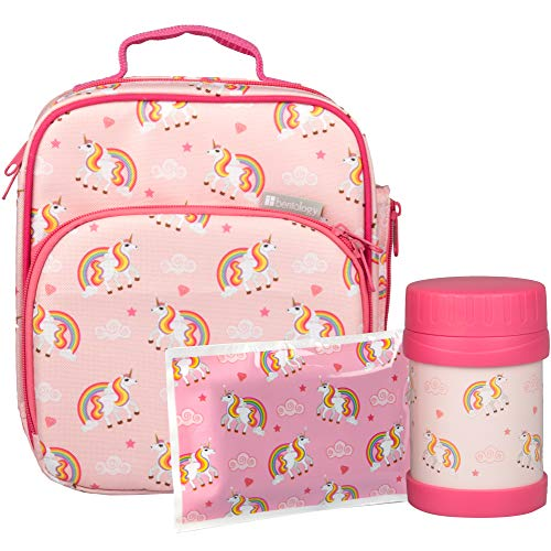 Bentology Unicorn Lunch Bag Kit- Girls School Lunchbox Set- Includes Insulated Lunch Tote, Hot|Cold 13oz Food Jar, and Ice Pack - BPA & PVC Free - Unicorn