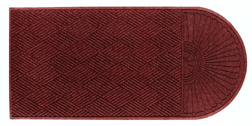 (M+A Matting 2248 Regal Red PET Polyester WaterHog ECO Grand Premier Entrance Mat, Half Oval One End, 5.9' Length x 4' Width, For Indoor/Outdoor)