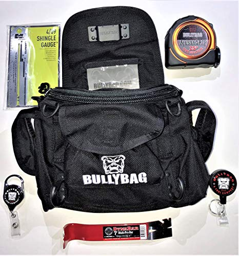 Cat Adjuster/Estimator/Inspector/Roof Sales 6-Pack: BULLYBAG Ultra Pouch Custom Tool Belt/Pouch & Tool Kit w/Haag Shingle Gauge, Tool Managers, AdjustaGRIP 25' Tape Measure, DynaBar 7
