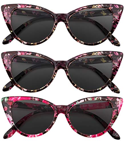 OWL Cat Eye Sunglasses Floral Smoke Mix (3 Pack)