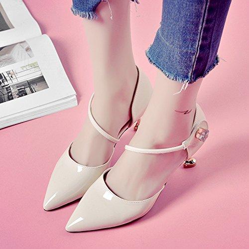 RUGAI-UE Sandalias de Verano Mujer zapatos de tacón puntiagudo Beige