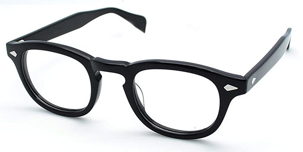 99f960867d Amazon.com  Vintage Eyeglass Frame Full-Rim Retro Bright Black Glasses Man  Women Spectacles Rx able  Clothing