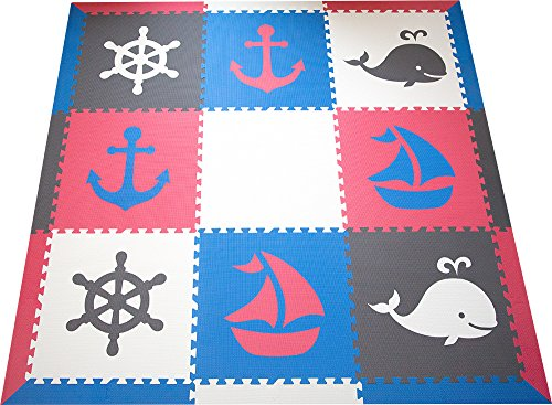 SoftTiles Interlocking Kids Foam Playmat- Nautical Ocean Theme Foam Mats for Children's Playrooms and Baby Nursery- Blue, Red, Gray, and White (6.5' x 6.5') (Red White Blue Border)