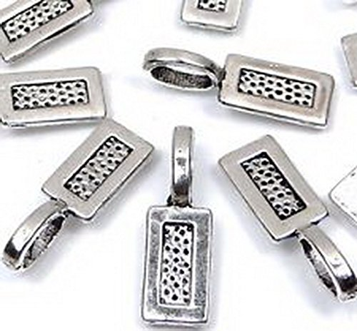 Rectangular Spacer Beads (Burts Beads - Silver Pewter Rectangle Glue On Flat Pads Create U own Pendant 50PCS)