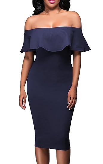 Mujer Vestidos De Fiesta Verano Elegantes Ajustados Hasta La Rodilla Vestidos Coctel Hombros Ropa Marcas Descubiertos