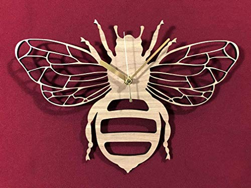 Bee Clock. Wooden Bee Clock. Manchester Bee. Perfect for Bee lovers. Ideal gift for Bee osessives.