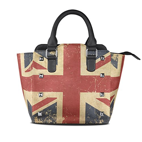 Coosun The British Women Aged Pu Leather Flat Flag Shoulder Bag Top Handle Tote Bag Crossbody Bag Middle Multicolor